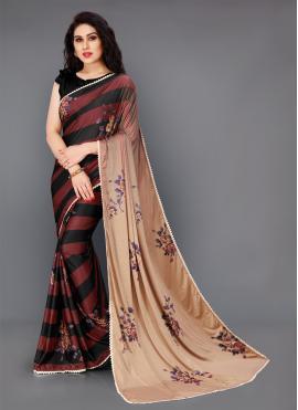 Latest Multi Colour Floral Print Classic Saree
