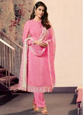 Latest Print Pink Faux Crepe Designer Straight Suit
