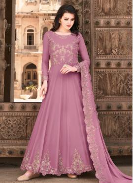 Lavender Faux Georgette Floor Length Anarkali Suit