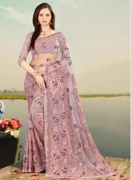 Lavender Resham Net Designer Saree