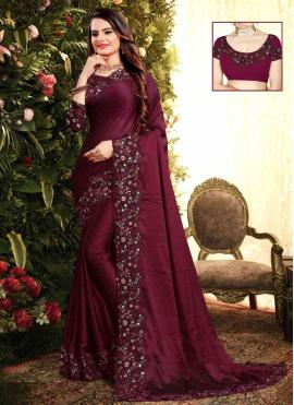 Lavish Embroidered Georgette Trendy Saree