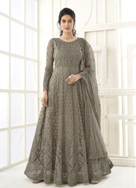 Lavish Embroidered Grey Net Floor Length Anarkali Suit