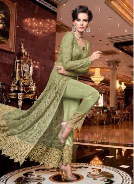 Lavish Embroidered Net Green Designer Salwar Kameez