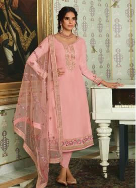 Lavish Tussar Silk Resham Designer Straight Salwar Suit