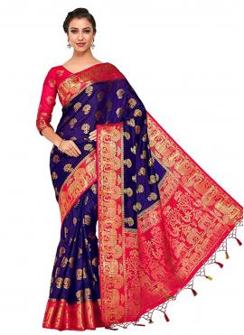 Lavish Zari Navy Blue Traditional Designer Saree