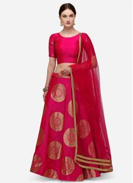 Lehenga Choli Fancy Banarasi Silk in Hot Pink