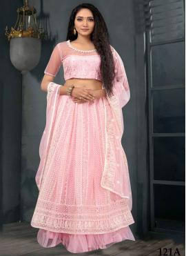 Lehenga Choli Lucknowi work Net in Pink