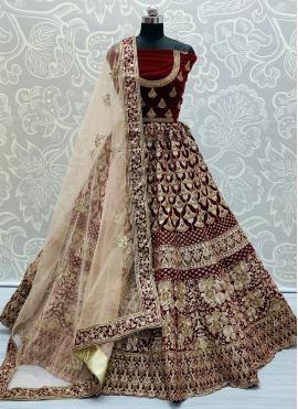 Lehenga Choli Patch Border Velvet in Maroon