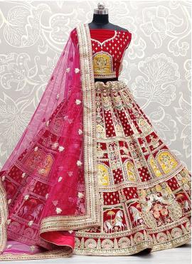 Lehenga Choli Resham Velvet in Pink