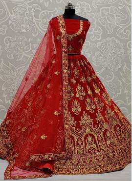 Lehenga Choli Resham Velvet in Red