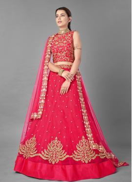 Lehenga Choli Thread Net in Pink
