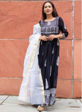 Linen Fancy Black Readymade Suit