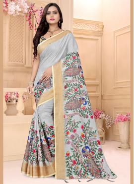 Linen Grey Designer Saree