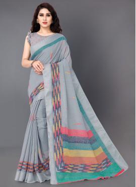 Linen Printed Casual Saree in Grey
