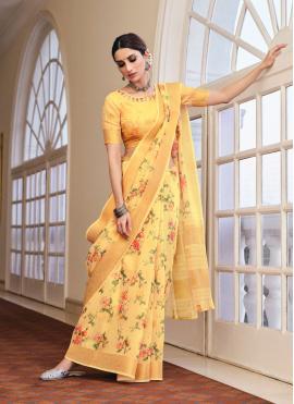 Linen Yellow Abstract Print Printed Saree