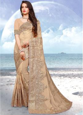 Lively Beige Designer Saree