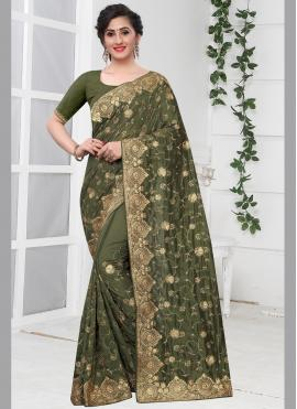 Lively Embroidered Green Classic Designer Saree