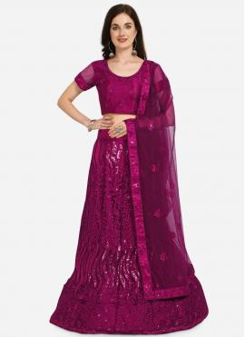 Lively Embroidered Purple Lehenga Choli