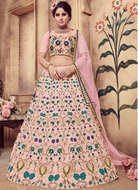 Lively Pink Art Silk Designer Lehenga Choli