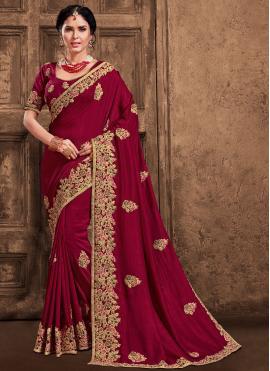 Lively Poly Silk Maroon Patch Border Designer Saree