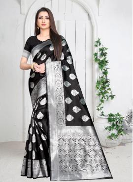 Lively Weaving Black Art Silk Casual Saree