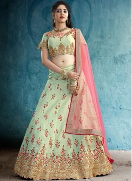 Lovable Embroidered Silk Green Designer Lehenga Choli