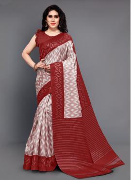 Lovable Maroon Silk Trendy Saree
