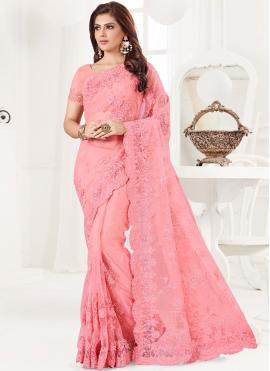 Lovable Pink Reception Classic Designer Saree