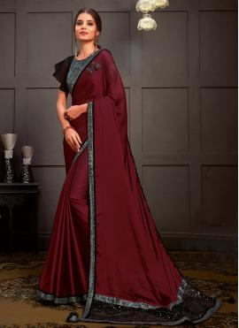 Lovable Wine Silk Designer Saree