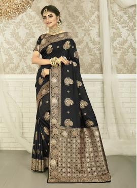 Lovely Beige and Black Weaving Silk Saree