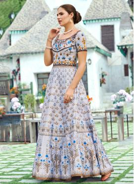 Lovely Digital Print Silk Designer Gown