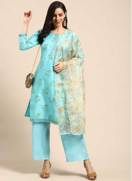 Lovely Fancy Cotton Blue Designer Palazzo Suit