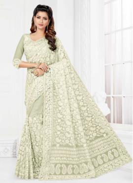 Lovely Resham Net Off White Trendy Saree