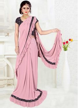 Lycra Pink Sequins Trendy Saree