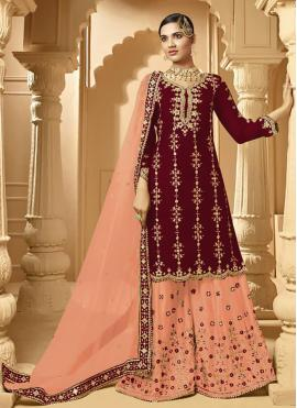 Magenta and Peach Party Faux Georgette Designer Palazzo Salwar Kameez