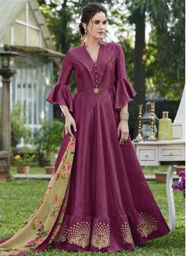 Magenta Art Silk Party Designer Gown