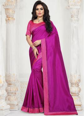Magenta Art Silk Traditional Saree
