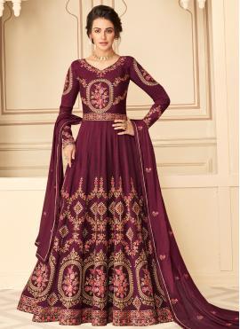 Magenta Festival Pure Silk Designer Floor Length Suit