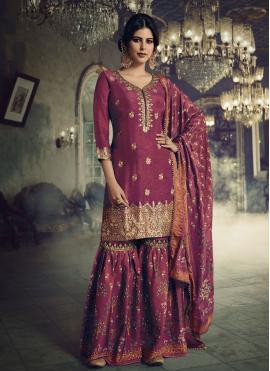 Magenta Jacquard Silk Designer Pakistani Suit