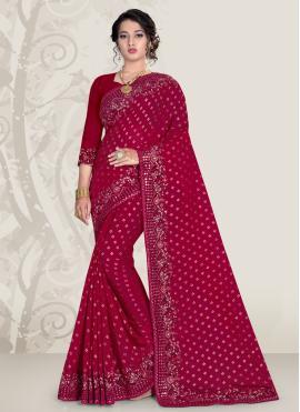 Magenta Patch Border Banglori Silk Designer Traditional Saree