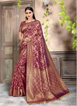 Magenta Silk Weaving Bollywood Saree