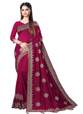 Magenta Vichitra Silk Sangeet Traditional Designer Saree