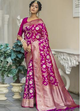 Magenta Weaving Banarasi Silk Traditional Designer Saree