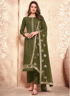 Magnetic Faux Georgette Embroidered Green Designer Pakistani Salwar Suit