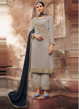 Magnetic Faux Georgette Grey Embroidered Designer Pakistani Suit