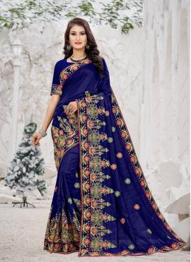 Magnetic Navy Blue Embroidered Trendy Saree