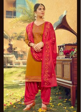 Magnetize Mustard Print Cotton Silk Patiala Suit