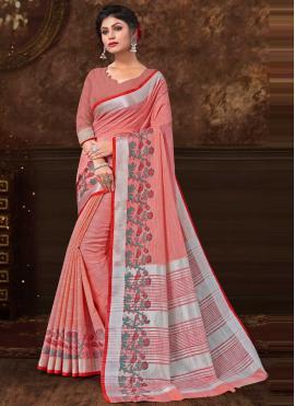 Magnificent Fancy Fabric Peach Classic Saree