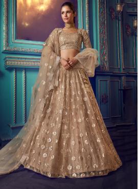 Magnificent Gold A Line Lehenga Choli