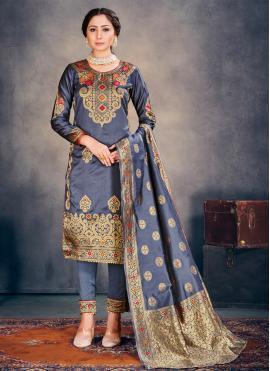 Magnificent Grey Banarasi Silk Pant Style Suit